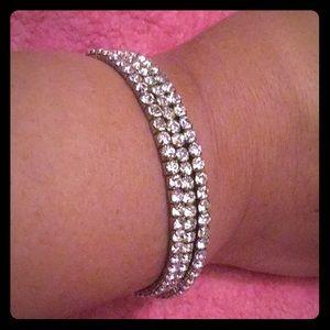Crystal Coil Bracelet, Three Strands that Stretch